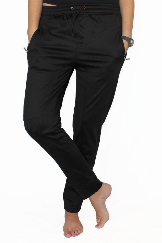 Fleece Lined Pocket Joggers - Black