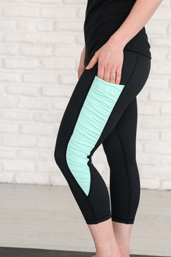 Black & Mint Ruffle  - Pocket Capri - ON SALE