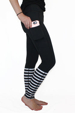 Black With White Stripes - Pocket Pant