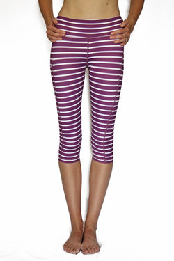 Dark Purple and White Stripe - Pocket Capri - RESTOCKED