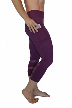 Purple Mesh Pocket Capri