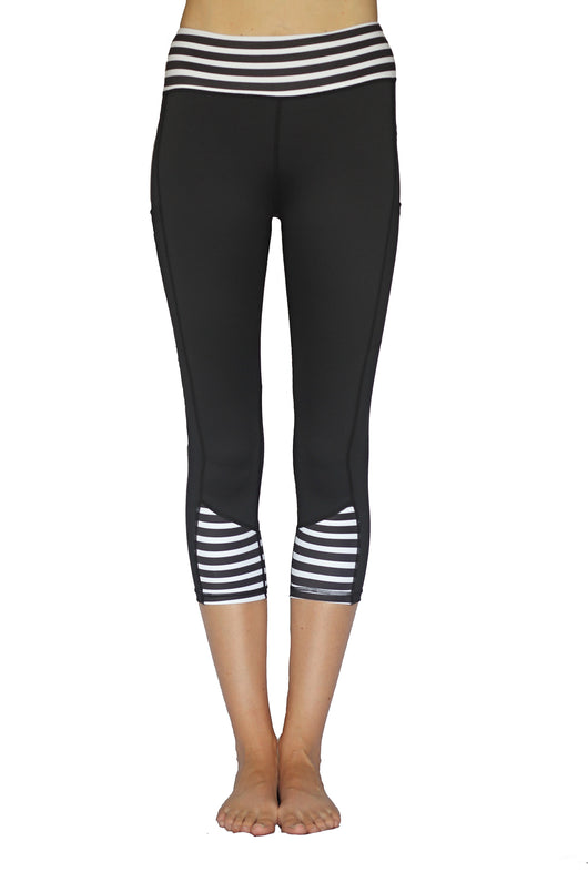 Black with Stripes - Pocket Capri