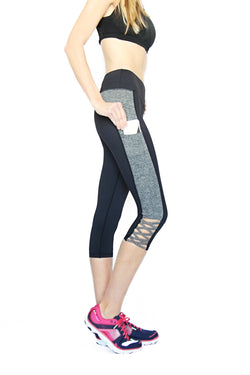 Black and Gray Crisscross - Pocket Capri