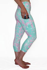 Mint and Pink Marble - Pocket Capri - CLEARANCE SALE