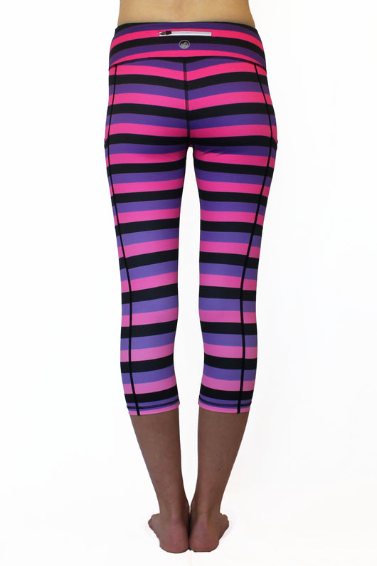 Pink, Purple, & Black Stripe - Pocket Capri