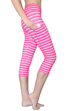 Pink and White Stripe - Pocket Capri - RESTOCKED