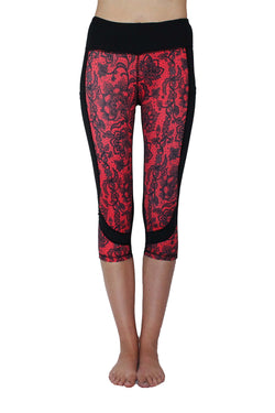 Red and Black Lace - Pocket Capri