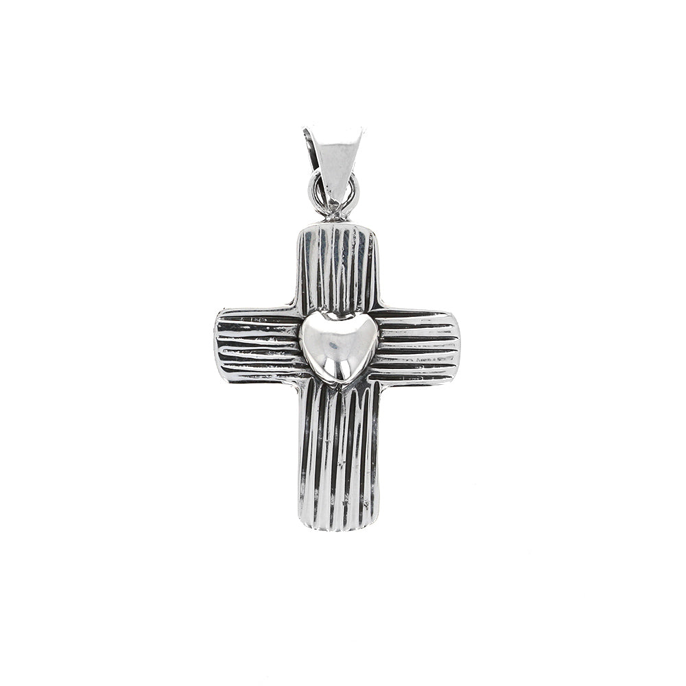 Sterling Silver Cross with Heart
