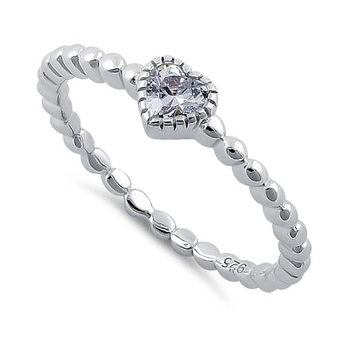 Sterling Silver Beaded Band CZ Heart Ring