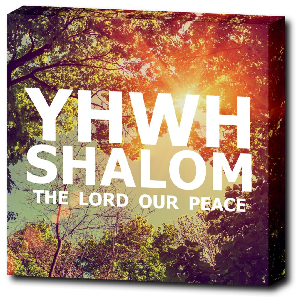 "YHWH SHALOM - The Lord Our Peace - 12""x12"" Wrapped Canvas Print"