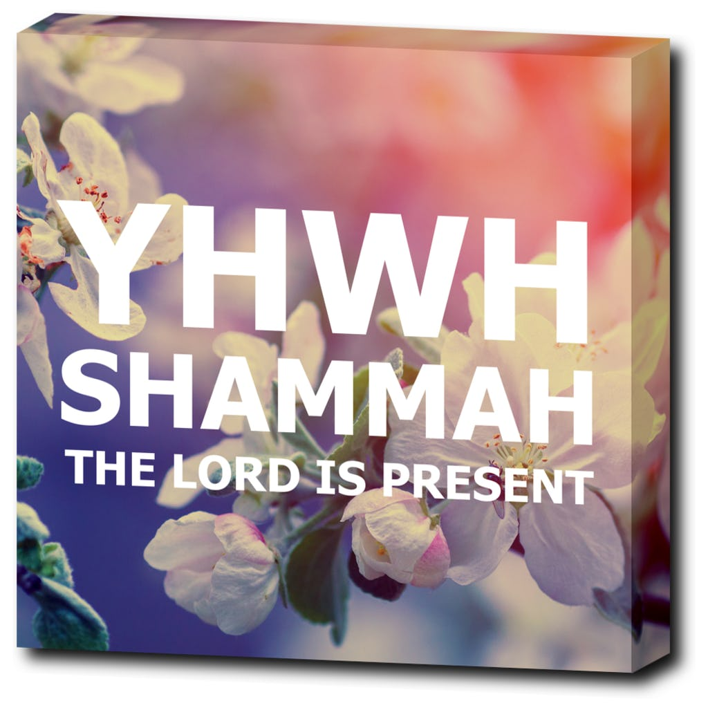 "YHWH SHAMMAH - The Lord is Present - 12""x12"" Wrapped Canvas Print"