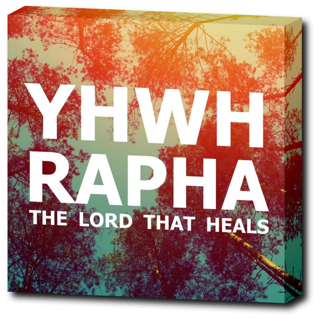 "YHWH RAPHA - The Lord that Heals - 12""x12"" Wrapped Canvas Print"