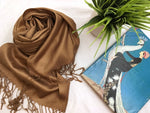 Brown Gold Solid Pashmina Tichel Scarf