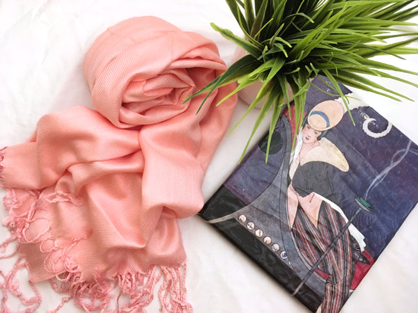 Baby Pink Solid Pashmina Tichel Scarf