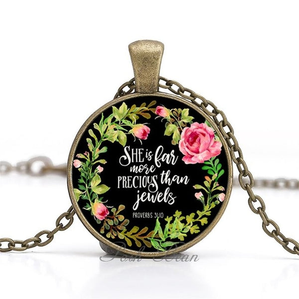 """She is far more precious than jewels"" Vintage Bible Verse Necklace"