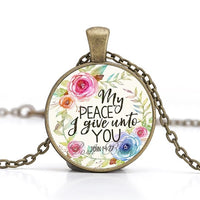 """My peace I give unto you"" Vintage Bible Verse Necklace"