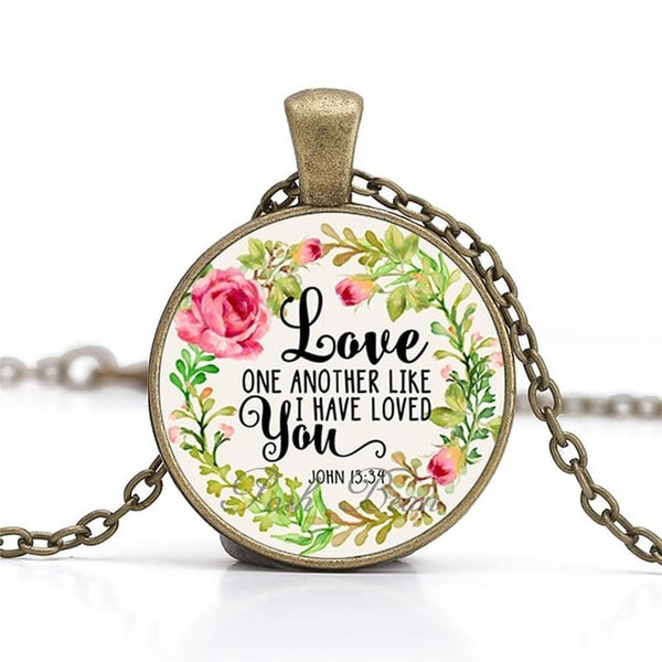 """Love one another like I have loved you"" Vintage Bible Verse Necklace"