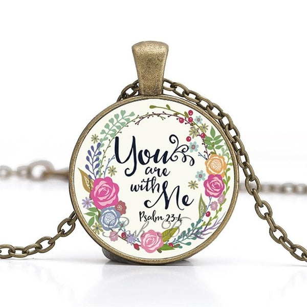"""You are with me"" Vintage Bible Verse Necklace"
