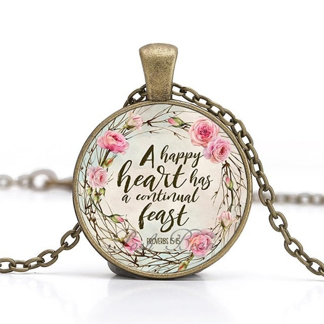 """A happy heart has a continual feast"" Vintage Bible Verse Necklace  (Shipping: 2-4 Weeks)"