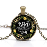 """The Lord will fight for you you need only to be still"" Vintage Bible Verse Necklace"