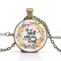 """It is well with my soul"" Vintage Bible Verse Necklace"