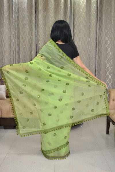 Justphulkari.com Green Saree with Lace