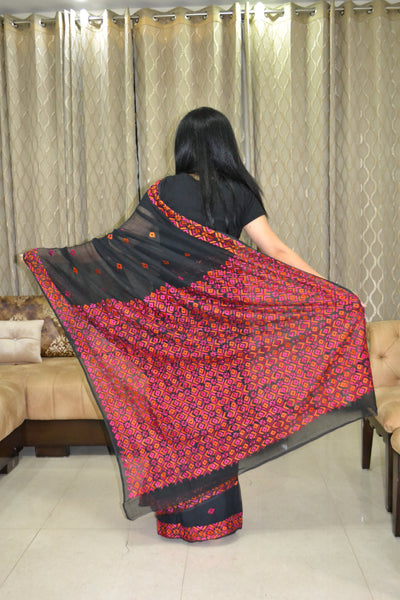 Black Hand Embroidery Saree