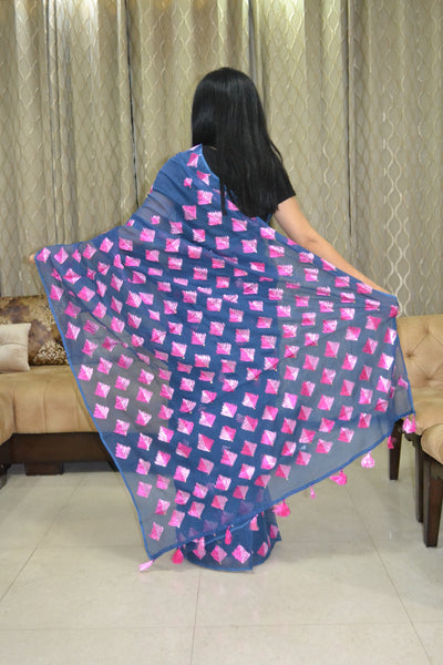 Just Phulkari Blue Saree Hand Embroidery