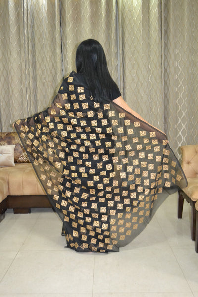 Black Phulkari Saree with Hand Embroidery