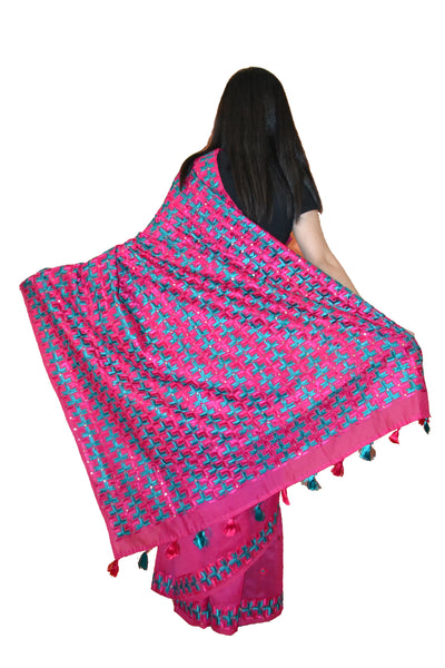 Just Phulkari Hand Embroidery Hot Pink Saree