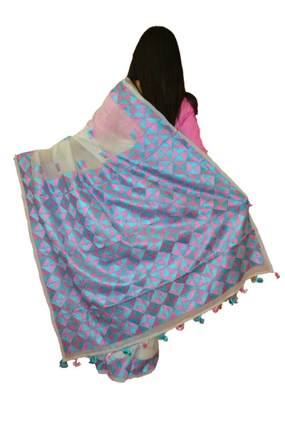 Just Phulkari White Saree