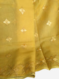 Hand Embroidered Phulkari Saree in Yellow