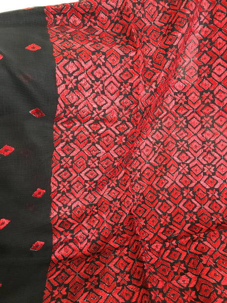 Just Phulkari Black Saree