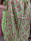 Green Phulkari Saree