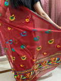 Just Phulkari Red Saree