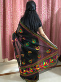 Black Phulkari Saree