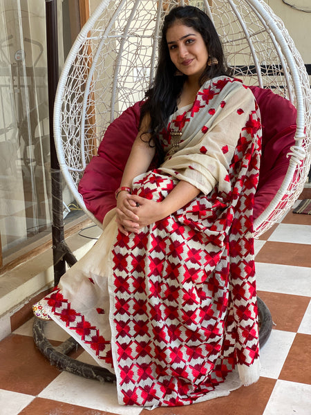 Just Phulkari Red Embroidery Saree