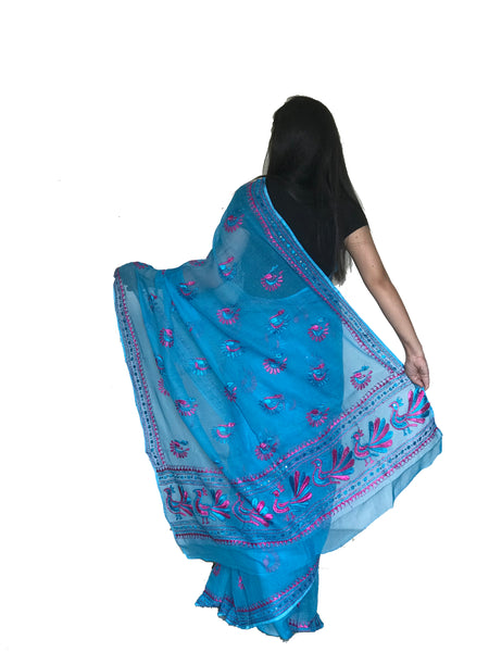 Peacock Motif Saree Just Phulkari