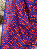 Blue Phulkari Saree