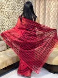 Red Phulkari Saree