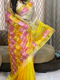 Just Phulkari Hand Embroidery Organza Saree