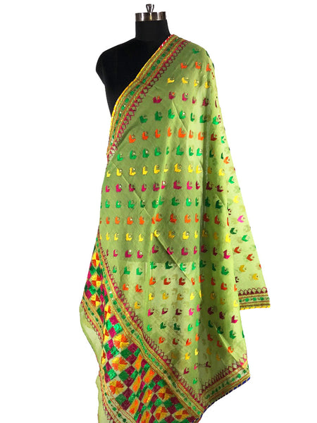 Just Phulkari light green Dupatta