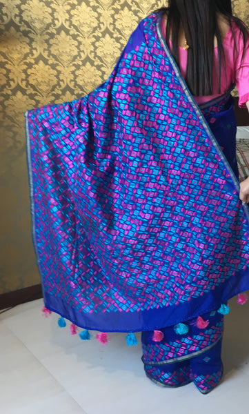 justphulkari blue saree
