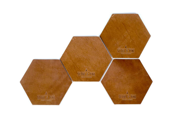 Hex Coasters — Cognac