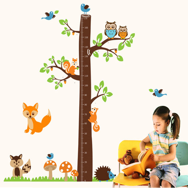 Foxes & Height Measuring Tree Decal