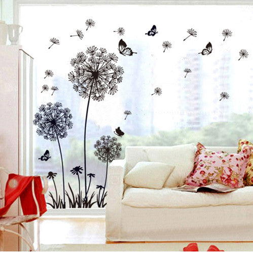 Black Dandelion Flower Wall Decal