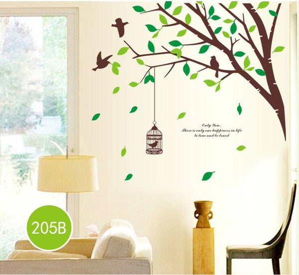 Brown Tree & Birds With Cage