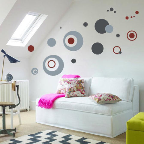 Abstract Bordeaux Circle Pattern Wall Decal