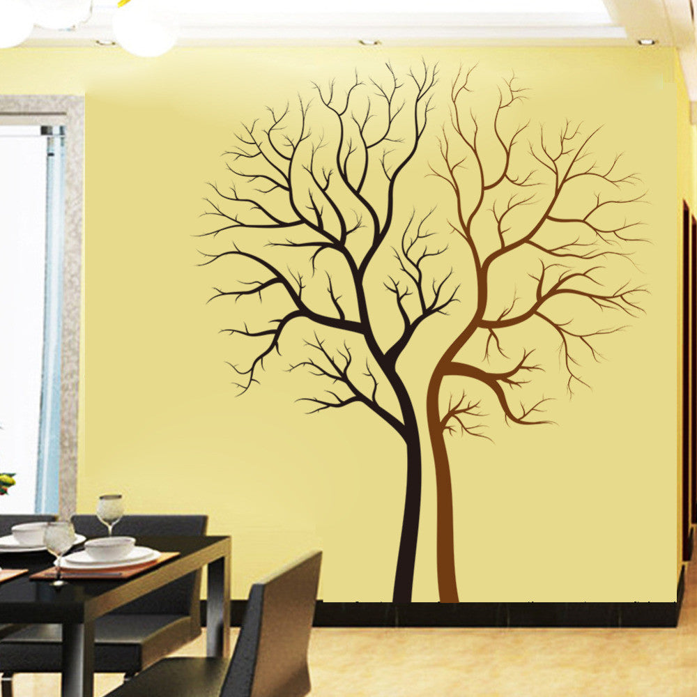 Black brown tree wall decal wall vision for Mural vision tv