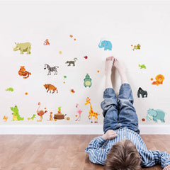 funny happy animals zoo cute dinosaur zebra giraffe snake wall stickers